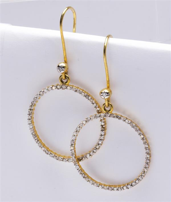 Pair of diamond and 14k yellow gold earrings