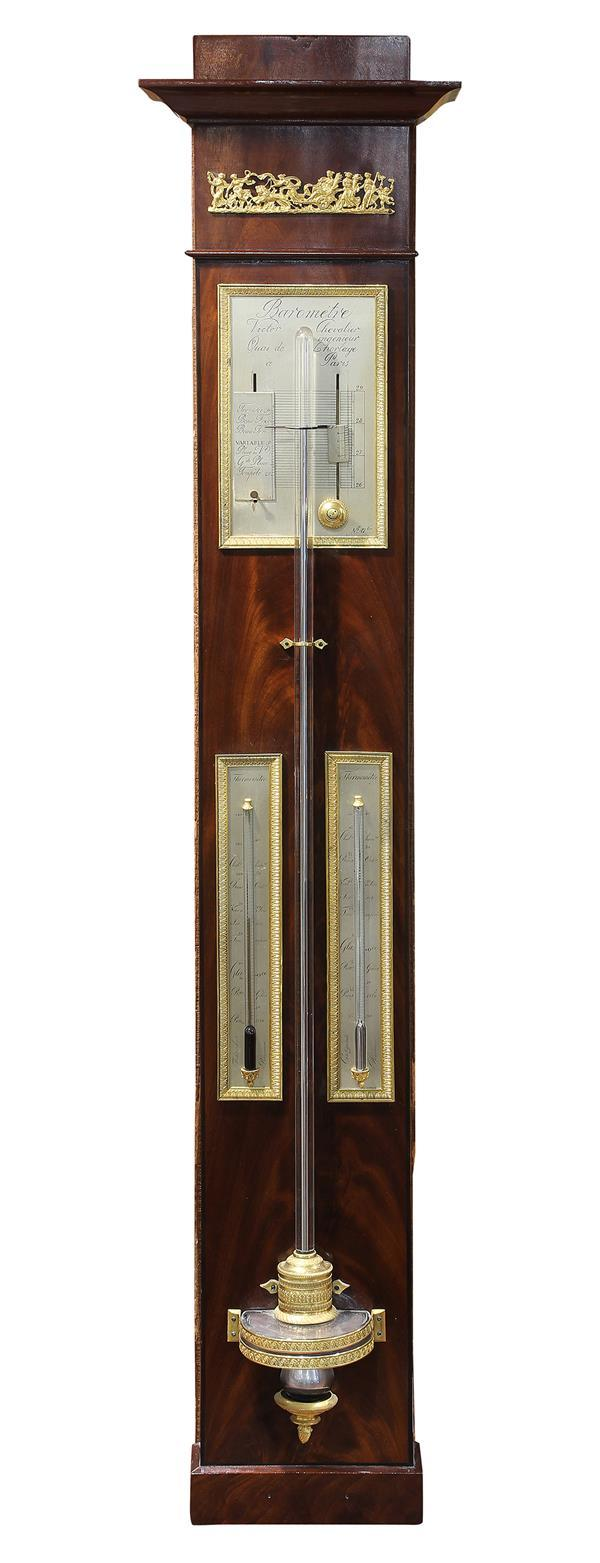 French Empire gilt bronze and mahogany barometer