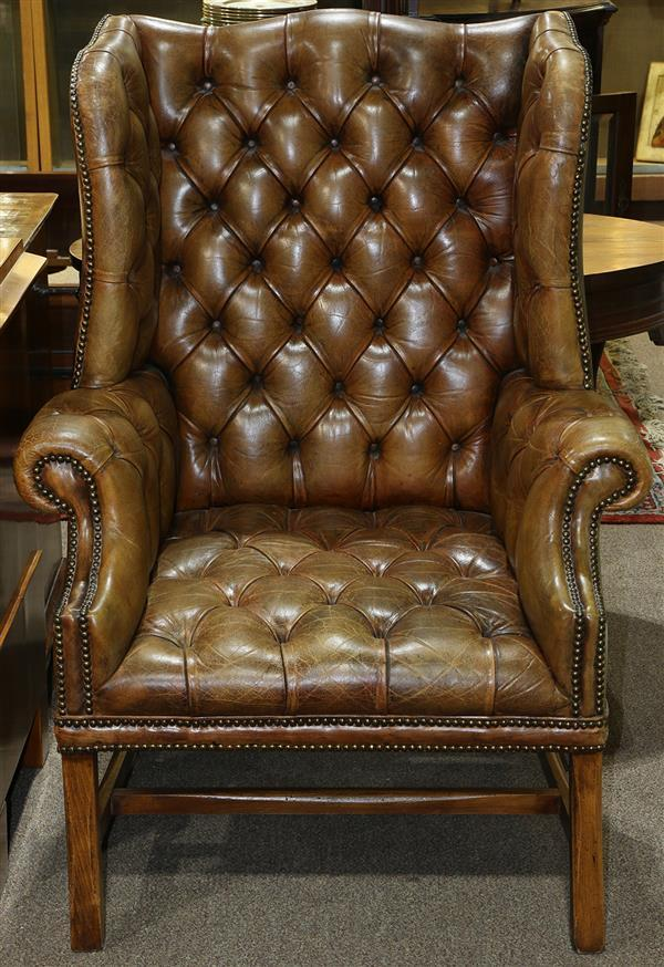 Georgian style wing back leather chair