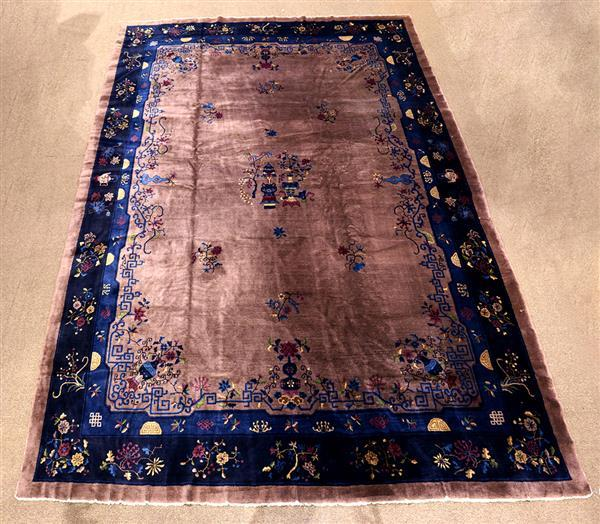 Chinese rug with auspicious symbols in mauve and blue c