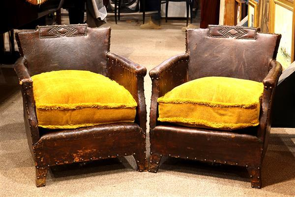 Pair of Art Deco style leather club chairs