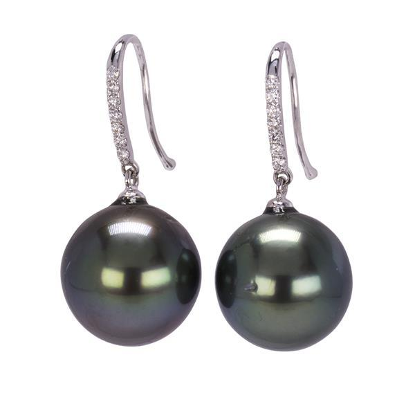 Pair of Tahitian cultured pearl, diamond and 18k white gold earrings