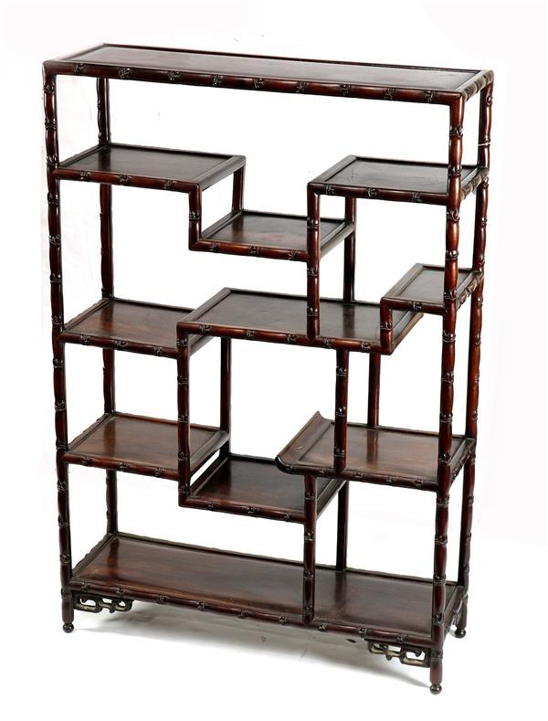 Chinese Hardwood Faux-Bamboo Curio/Display Cabinet