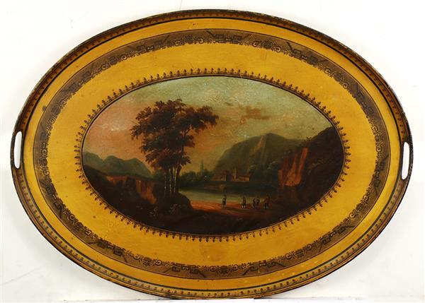 English tole decorated tray