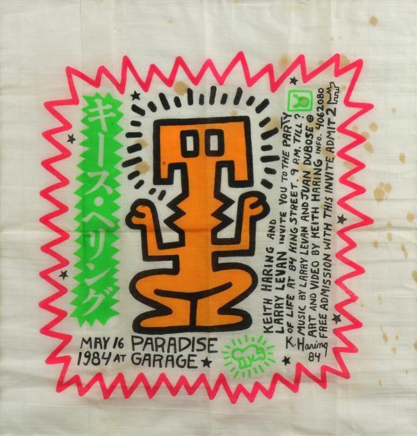 Keith Haring, Paradise Garage Birthday Invitation Handkerchief