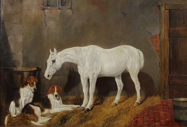 Painting, Barn Scene with Hounds and Horse