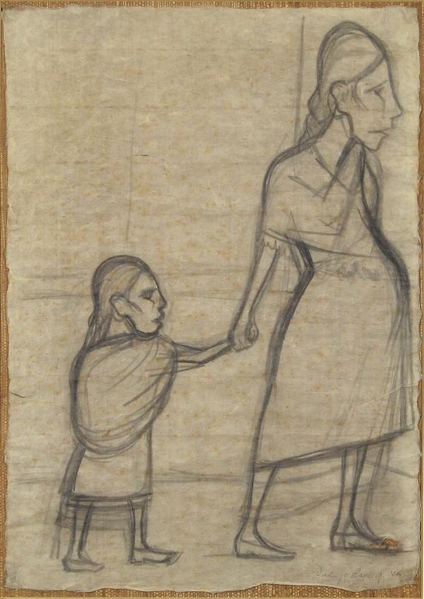 Work on Paper, Diego Rivera, Los Pobres