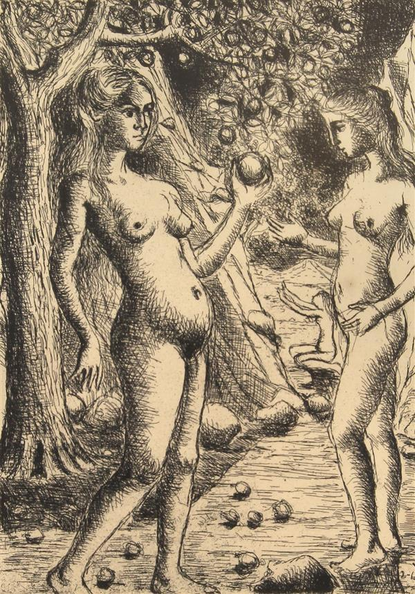 Print, Paul Delvaux, Eve