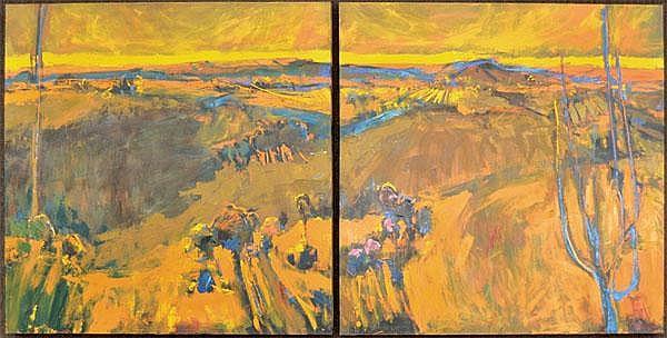 Painting (diptych), Henrietta Berk, Tice Creek Rd