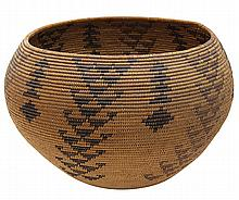 Paiute polychrome basketry vessel