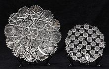 (lot of 2) American Brilliant Cut Glass plates, consisting of a signed Sinclaire small plate in the Assyrian pattern having a scallo...