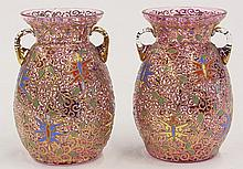 (lot of 2) Moser cranberry glass handled vases