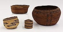 (lot of 4) Native American baskets including a Kawaiisu basket