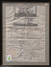 Early ship's passport signed by Andrew Jackson and his Secretary of State, Edward  Livingston,1833, for a ship (possibly the Marcus)..