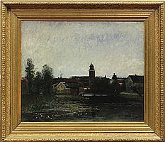 Painting, Johan Kindborg, Swedish Village