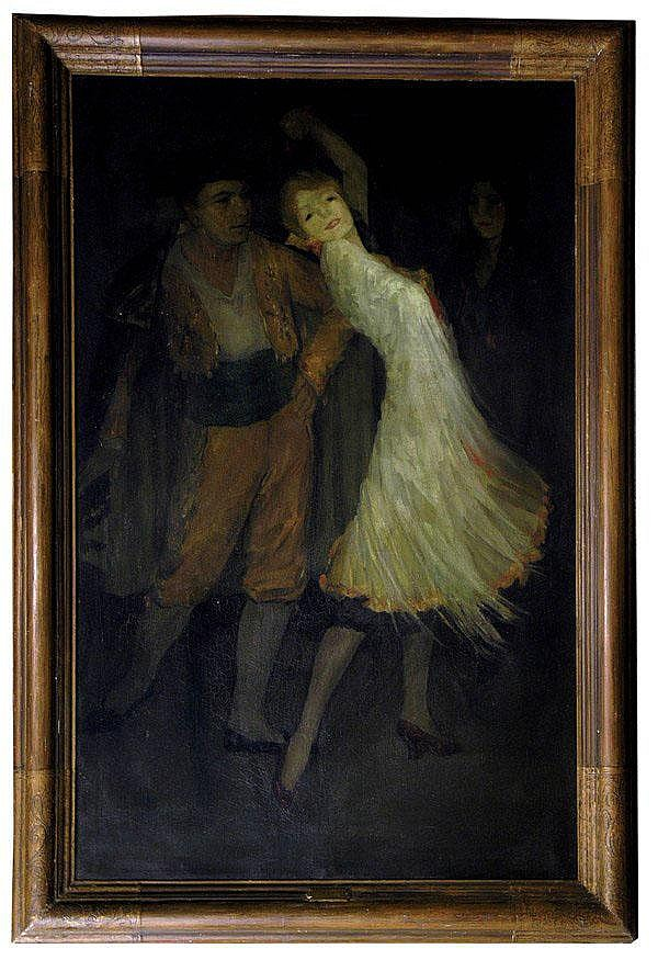 Framed oil on canvas, ''The Dance,'' by Loren