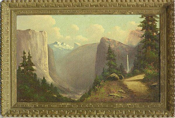 Framed oil on canvas, Yosemite Landscape,