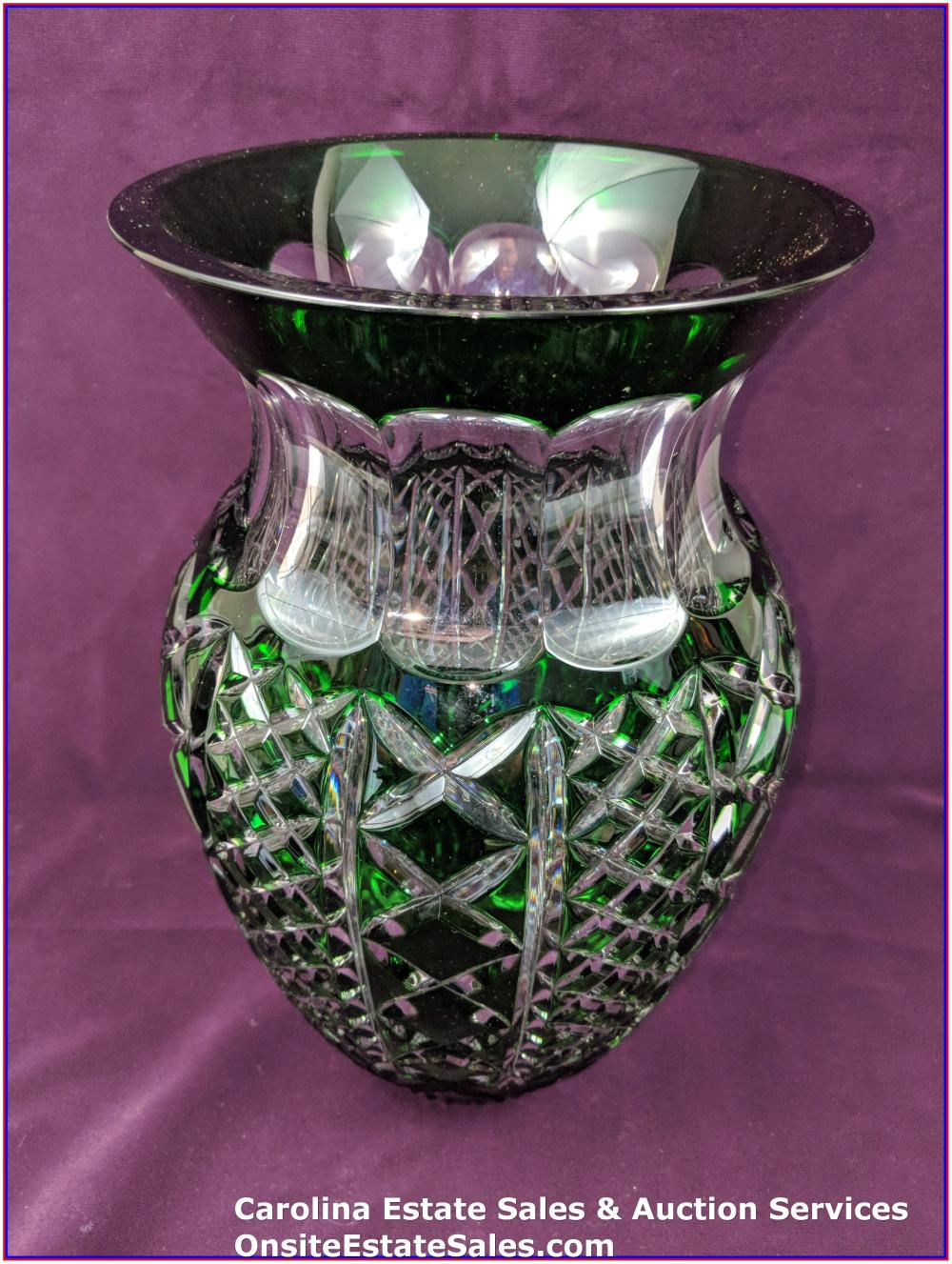 "Waterford Crystal Emerald Green Cut to Clear Fleurology Molly 12"" Bouquet Vase"