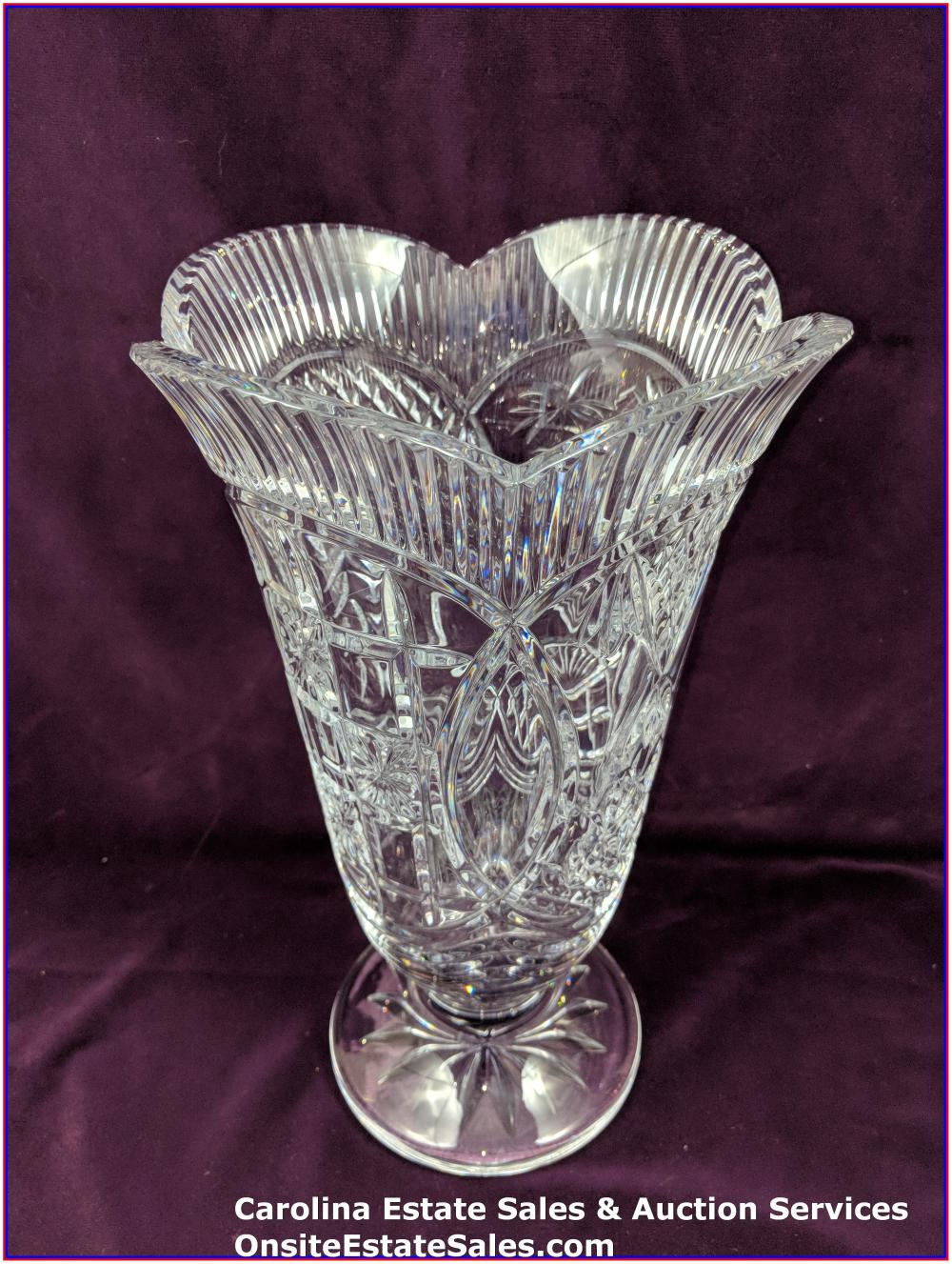 "Waterford 14"" clear crystal vase"