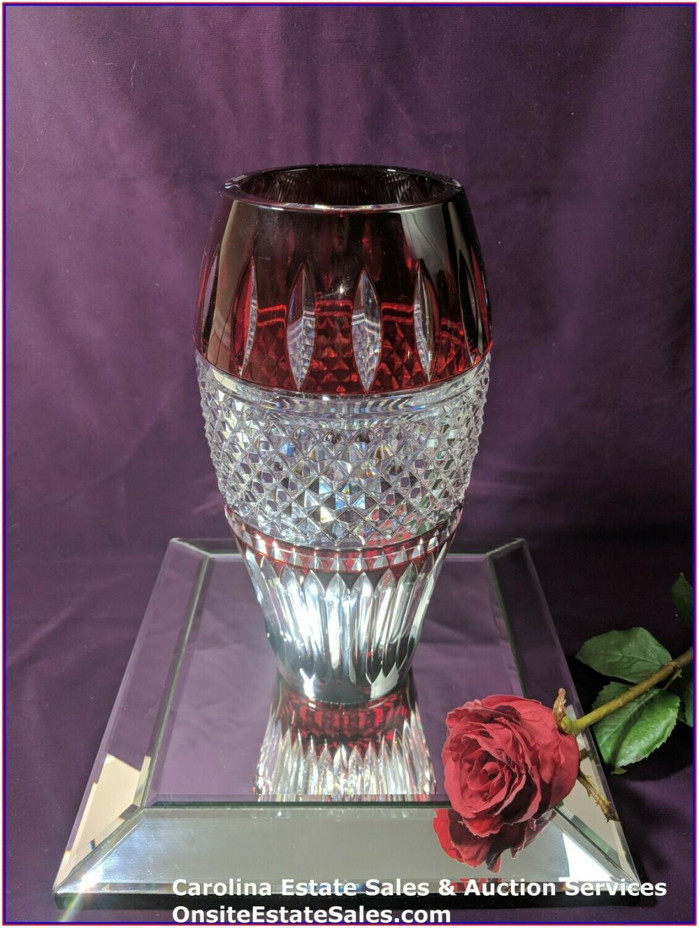 Waterford Cased Crystal Irish Lace Ruby Vase 12""