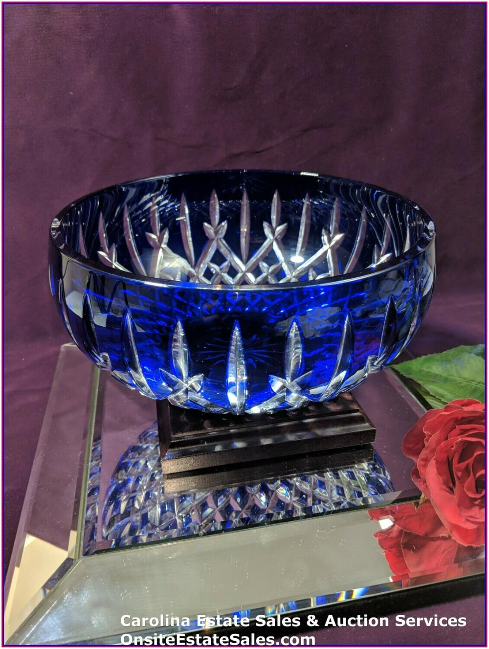 "Waterford Crystal Araglin Cobalt Blue 9"" Bowl JOL 50th 2010"