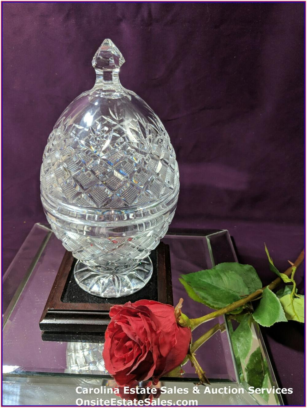 "Waterford Crystal ~ 9.5"" ORMONDE BONBONNIERE EGG ~NUMBERED LIMITED EDITION"