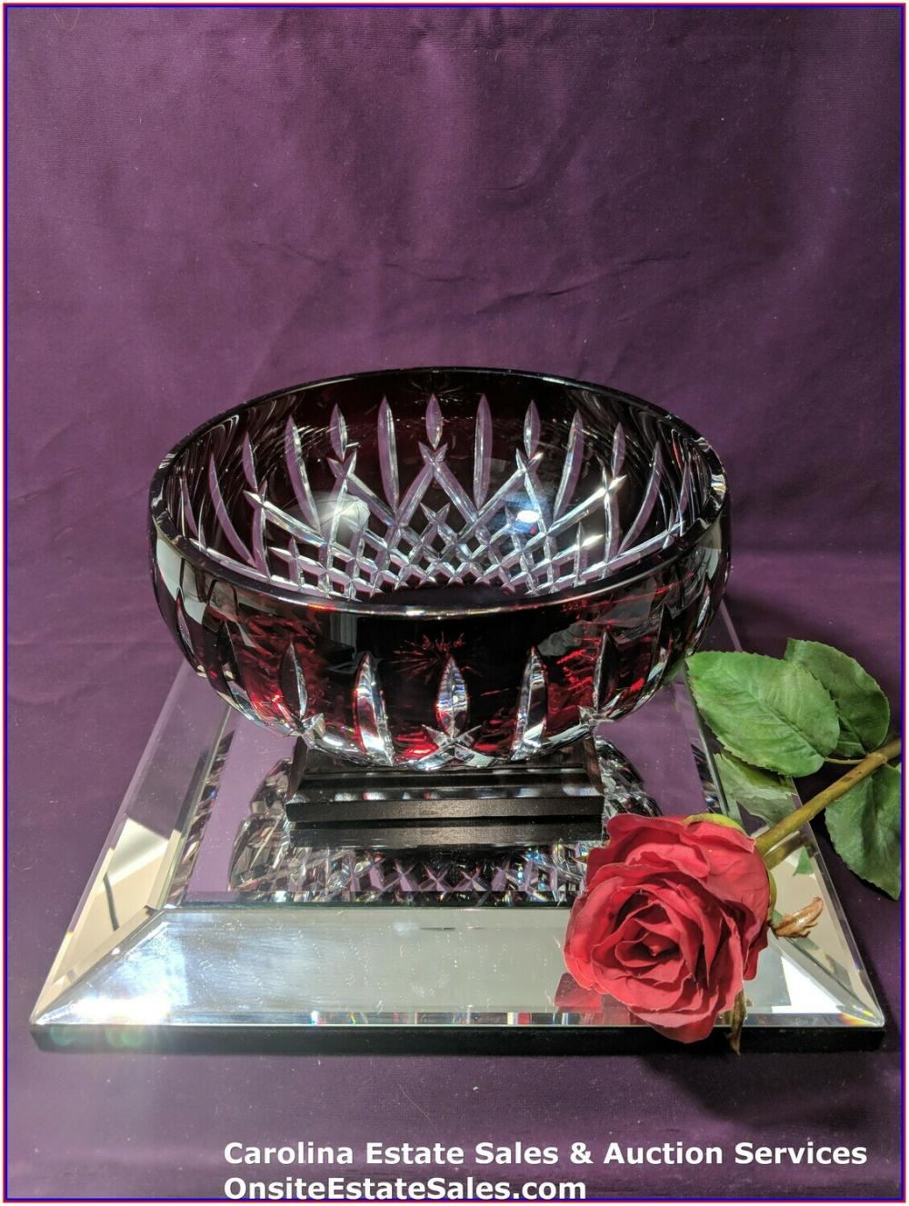 "WATERFORD ARAGLIN 9"" CENTERPIECE BOWL RUBY RED CUT TO CLEAR CRYSTAL"