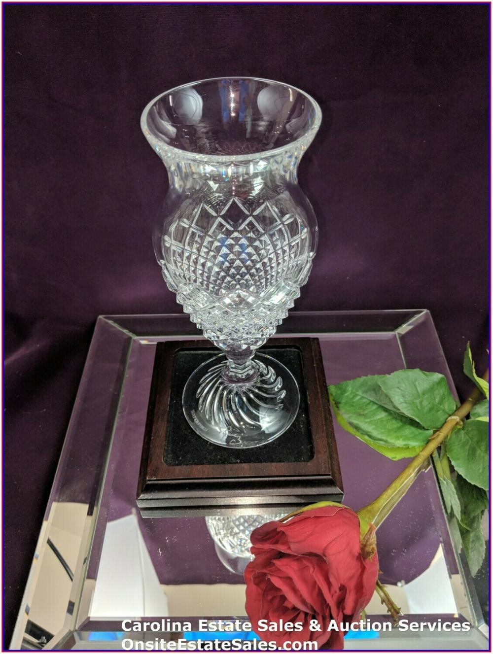 "WATERFORD CRYSTAL 8"" RARE LIAM FOOTED VASE MARKED SIGNED JORGE PEREZ GLASS"