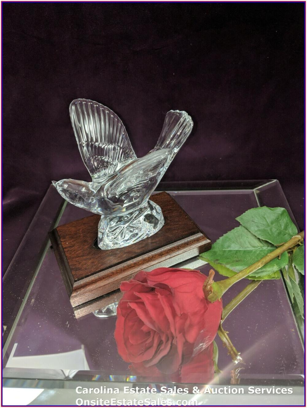 1998 Waterford Crystal Signed Jim O'Leary Bird with wooden base