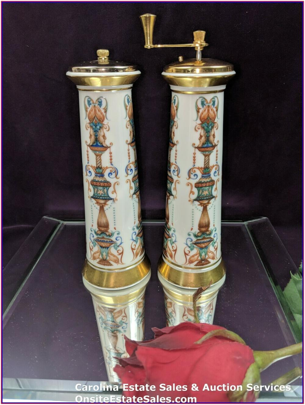 Vintage Lenox LIDO tall gold-trimmed salt shaker and pepper mill