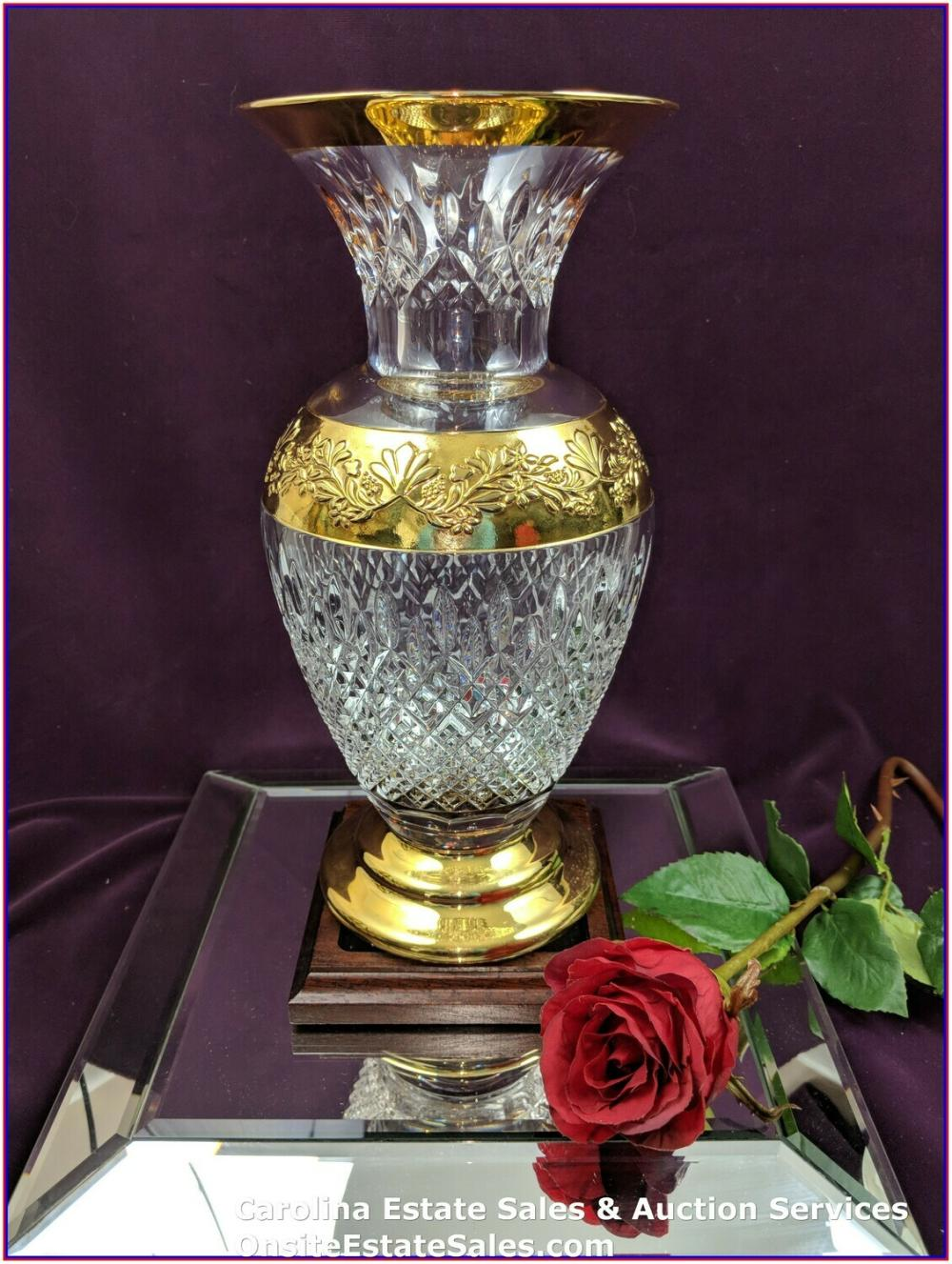 """12"""" H - WATERFORD CRYSTAL LISMORE CASTLE LIMITED EDITION 24K GOLD PLATED GILDED VASE 56/60"""
