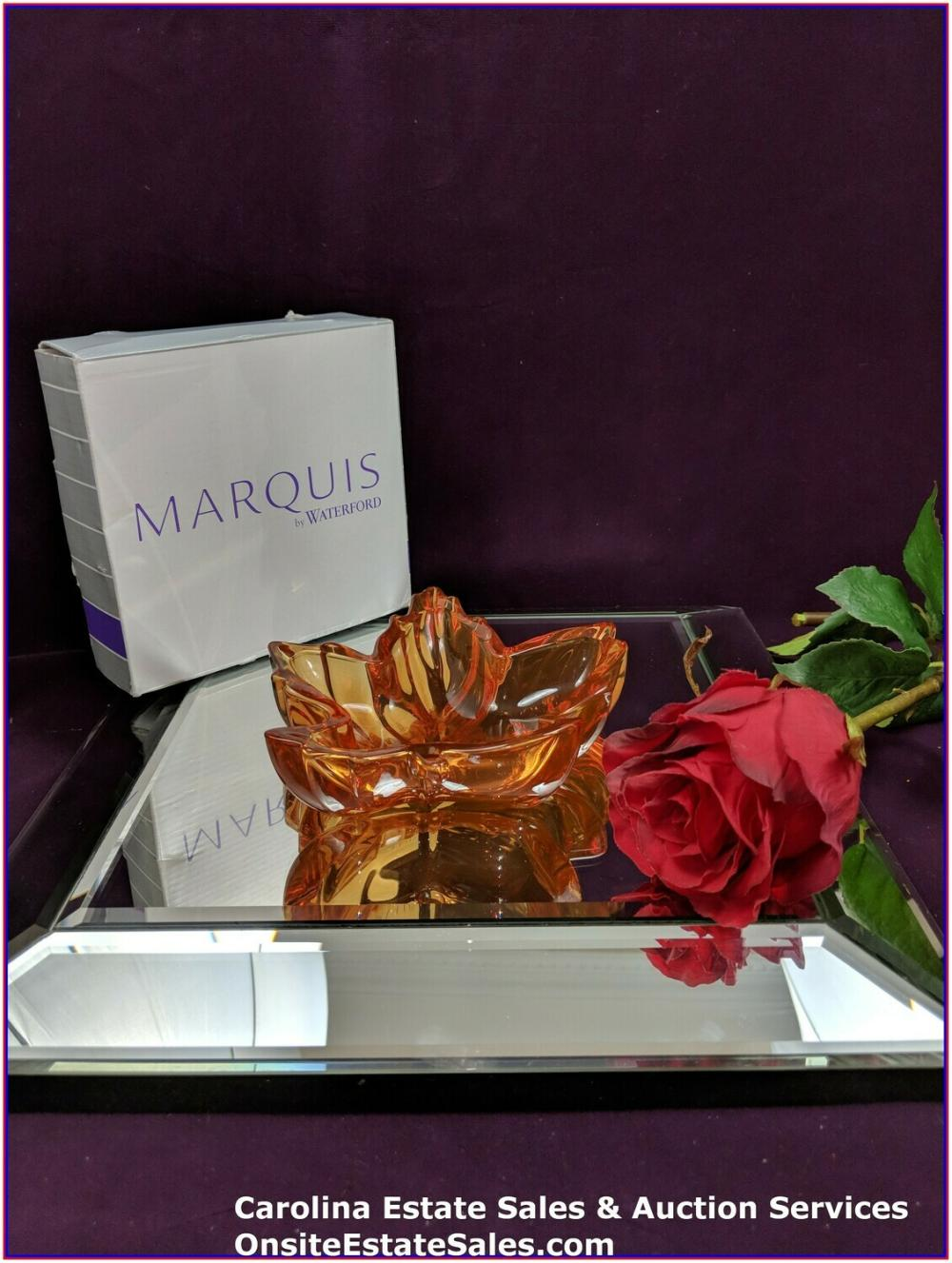 WATERFORD Marquis Maple Leaf Harvest Orange  Made in Germany Lead Crystal QTY:2