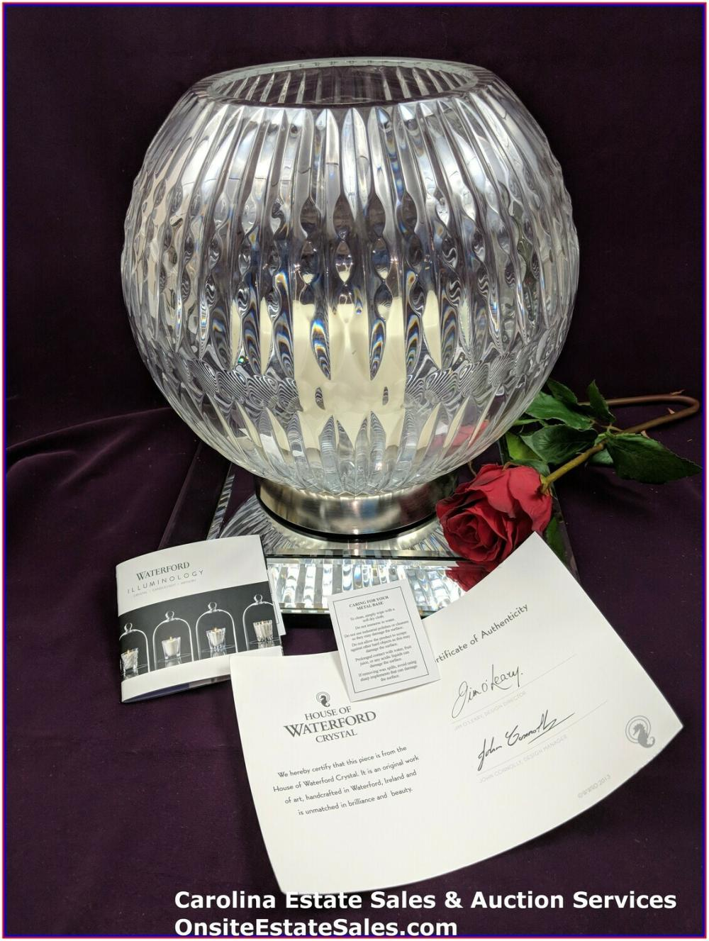 Waterford Crystal Candela Rose Bowl w/Pillar