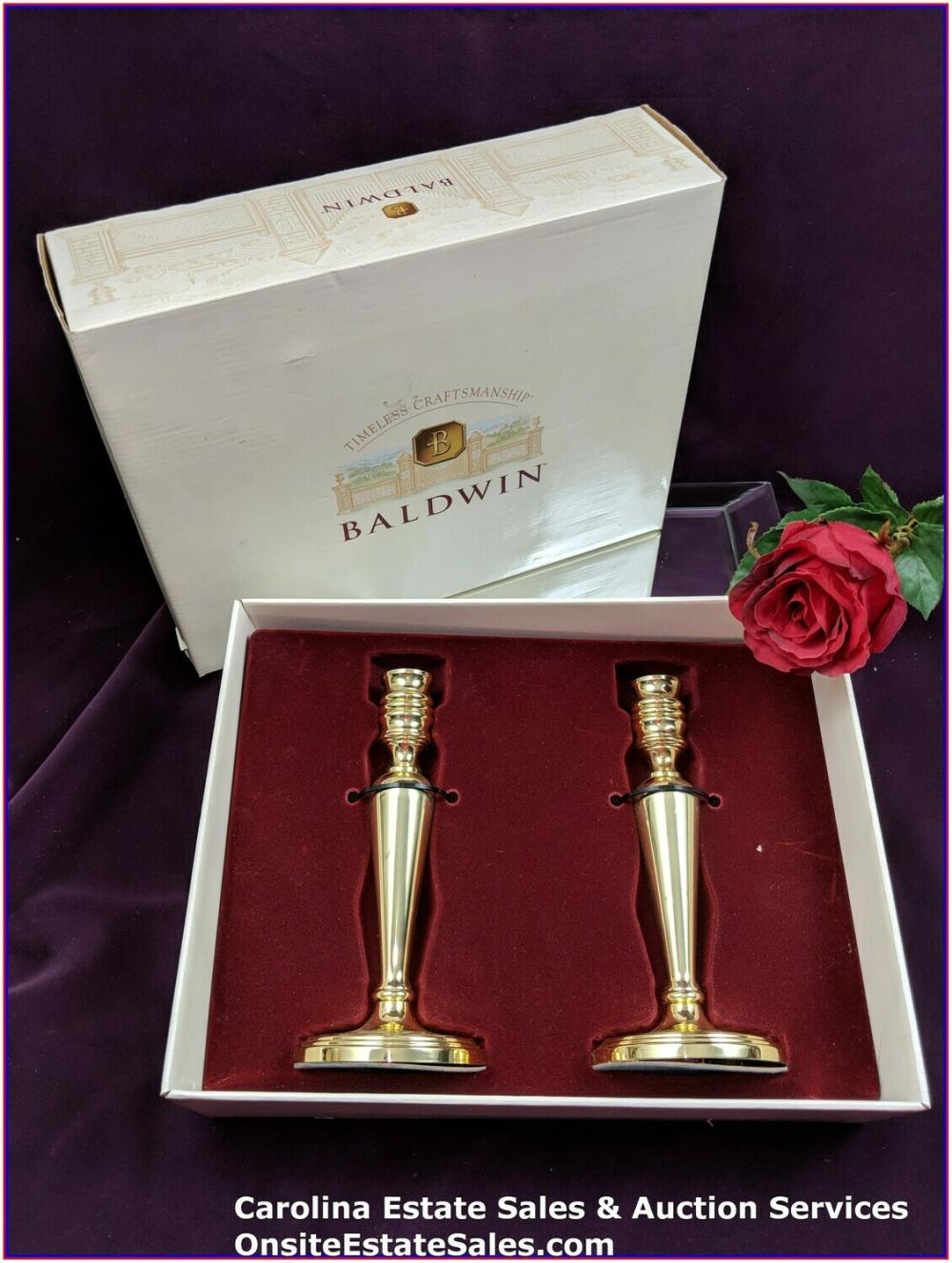 "BALDWIN POLISHED BRASS 7"" CANDLESTICKS PAIR W/ ORIGINAL BOX"