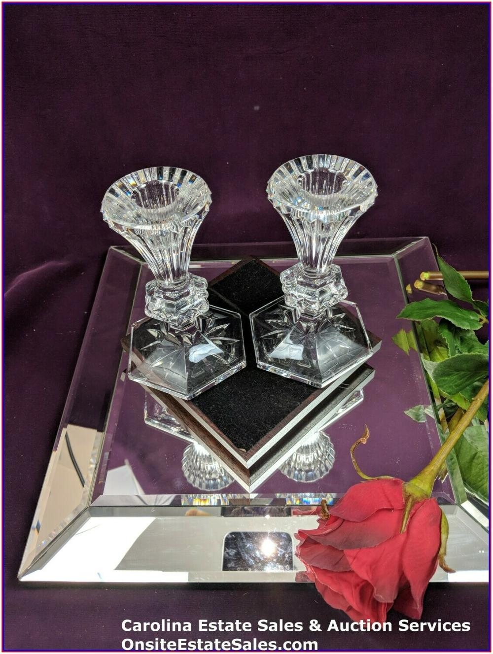 "Beautiful Waterford Pair Crystal Chatham 5"" Taper Candle Holders Candlesticks"