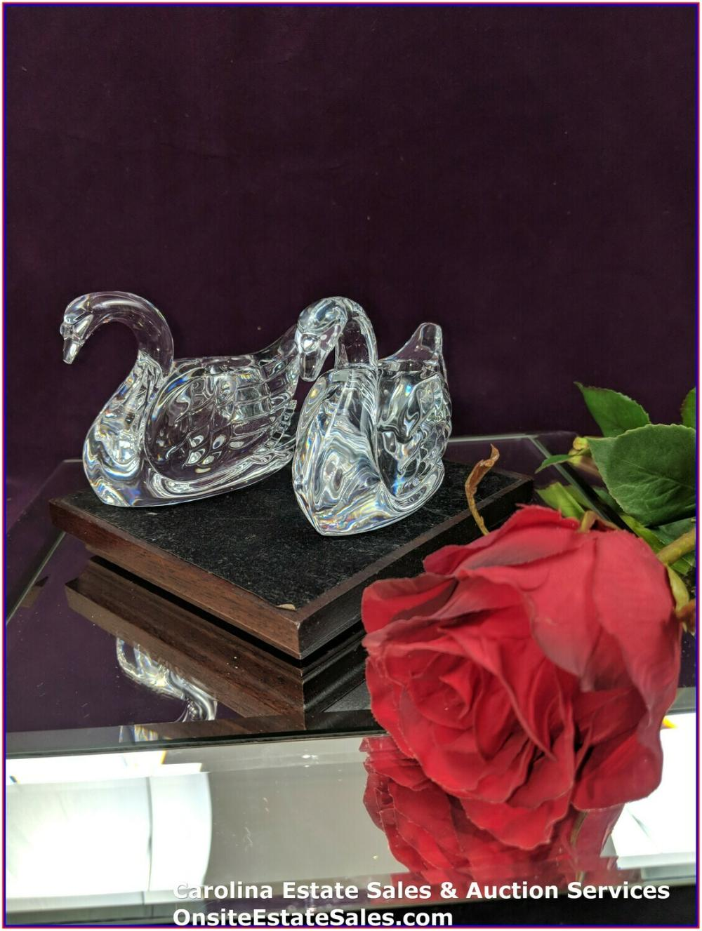 2 WATERFORD CRYSTAL GLASSWARE WEDDING CANDLE HOLDER SWANS PAIR MADE IN IRELAND