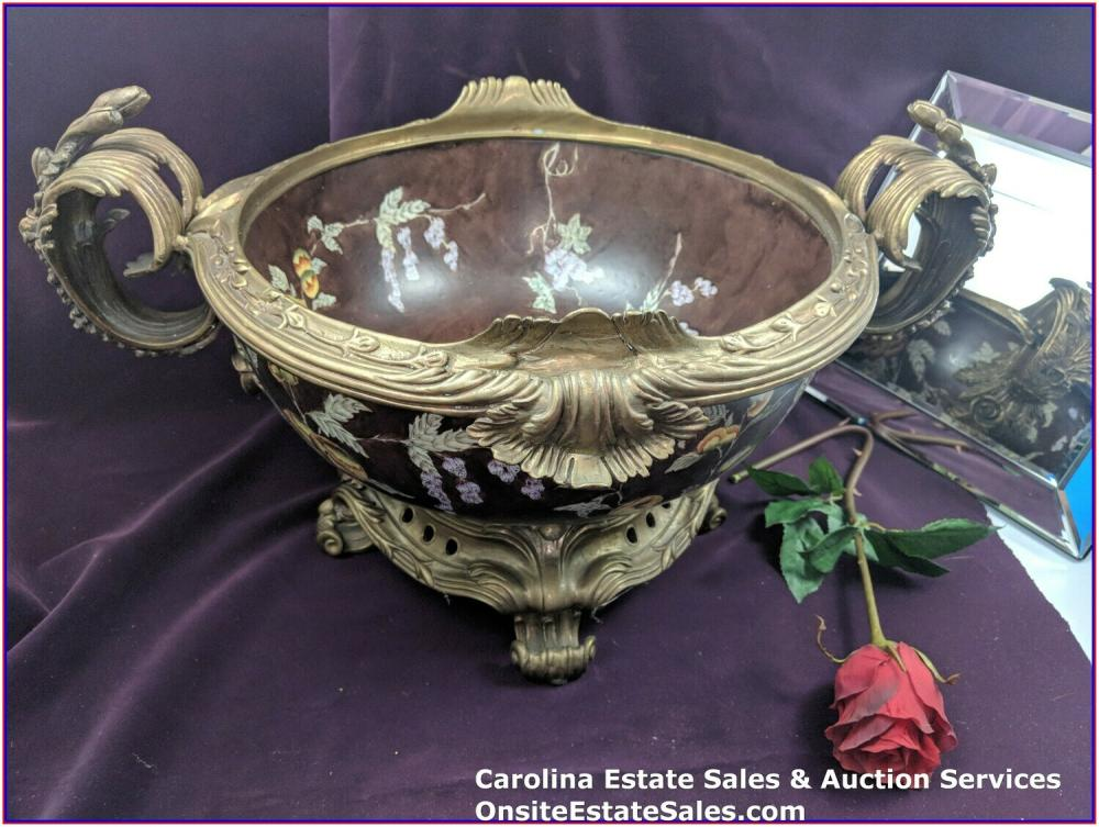 CASTILIAN LARGE PORCELAIN AND BRASS FRUIT POMEGRANATE HEAVY BOWL 0820-FF
