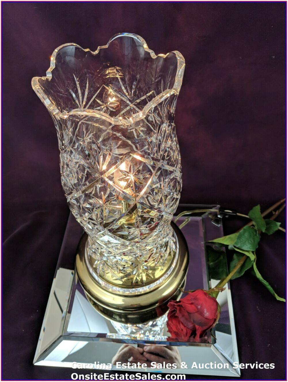 """Waterford Crystal / Brass Electric Approx 12"""" Hurricane Lamp - Beautiful"""
