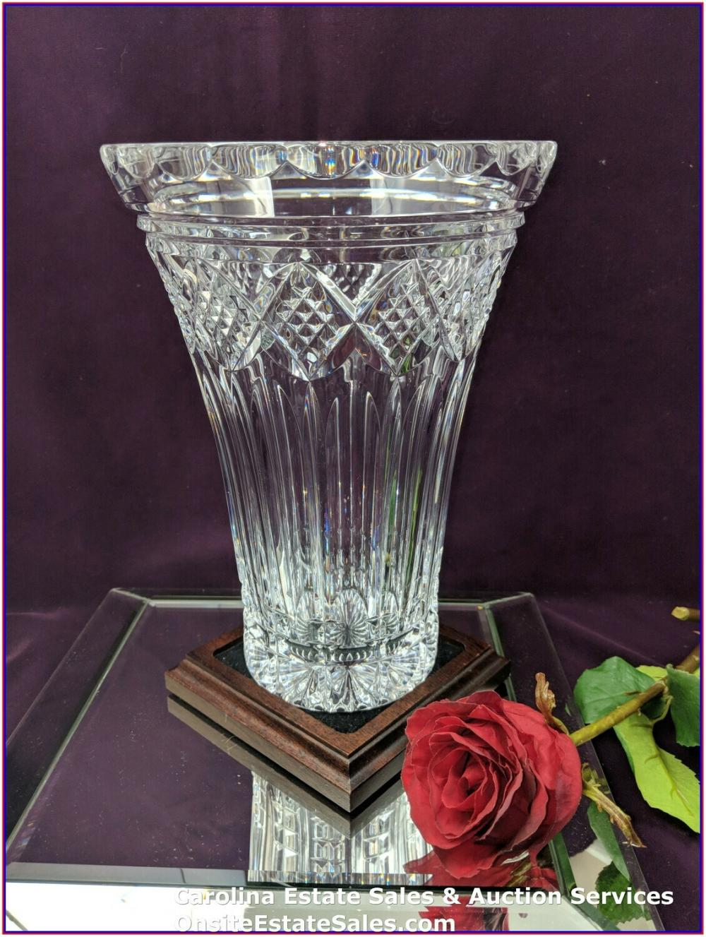 """WATERFORD CRYSTAL ST. PAULS TOWER 10"""" BEAUTIFUL VASE SIGNED JIM O'LEARY"""