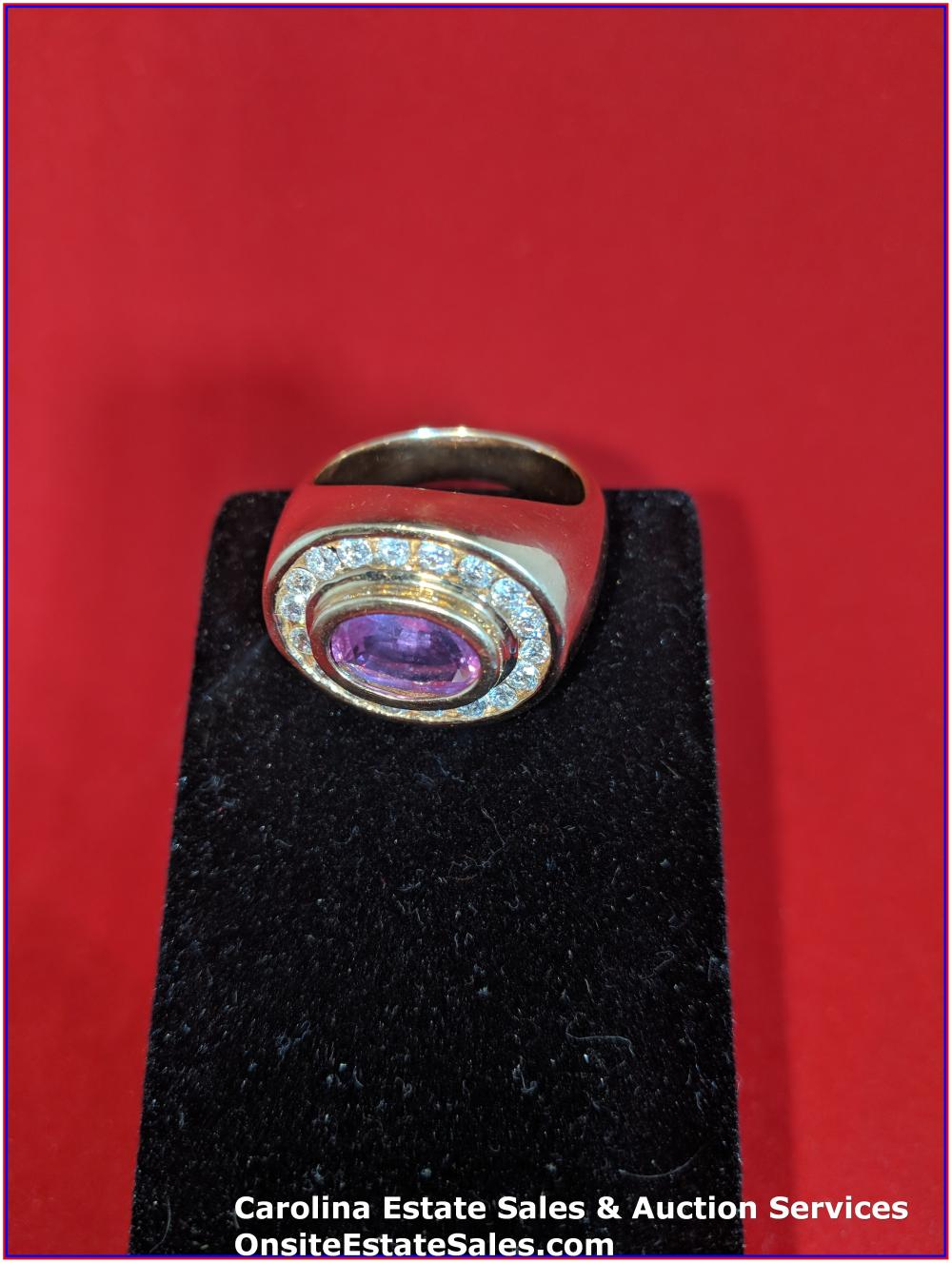 14K Gem Ring Gold 14 Grams Total Weight; 2.70 ct Pink Saphire with .90 ct Diamonds
