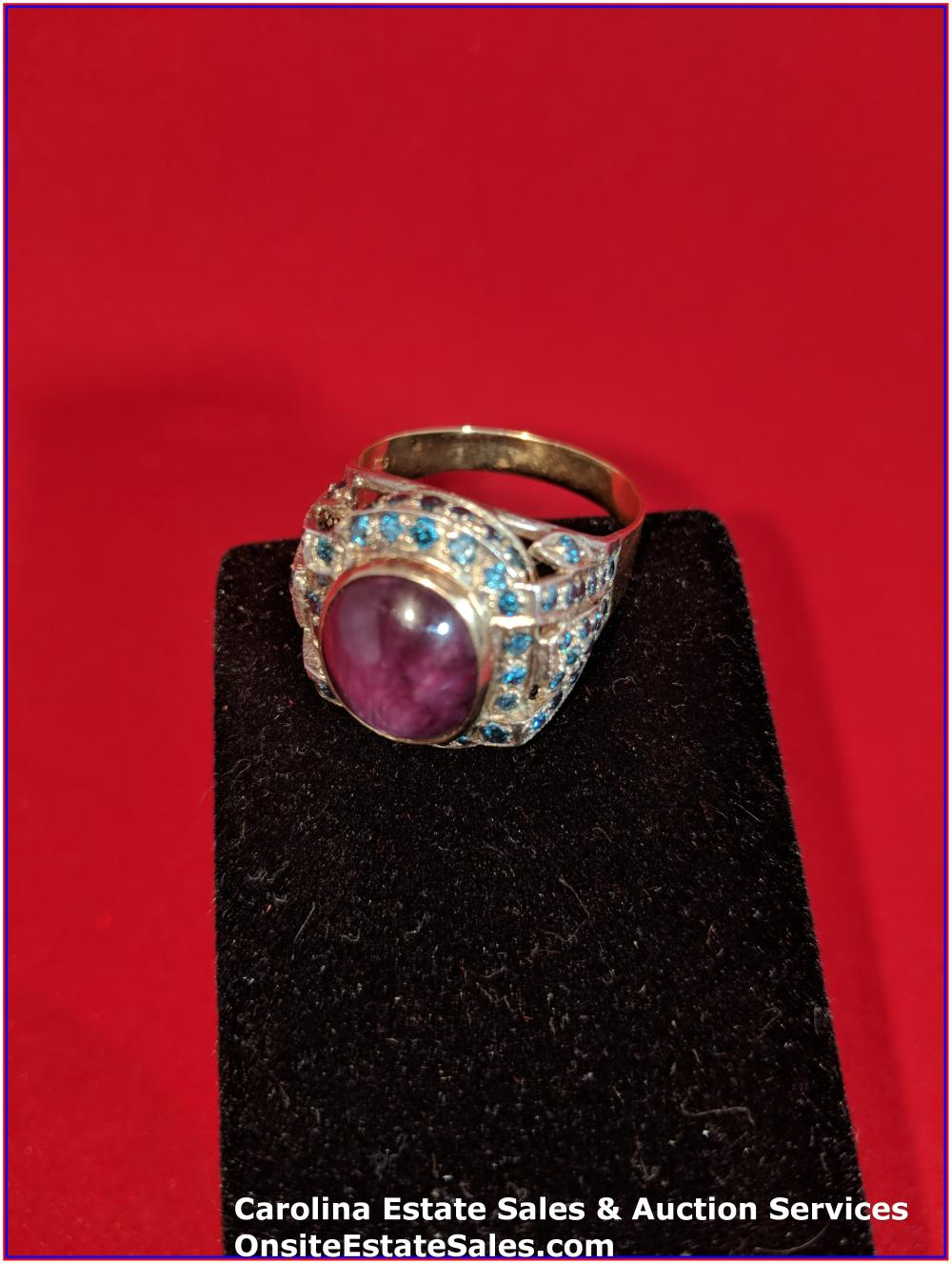 18K/925 Gold & Sterling Gem Ring Gold 12 Grams Total Weight; Center Stone Ruby Star Sapphire Surround by Natural Blue Diamonds