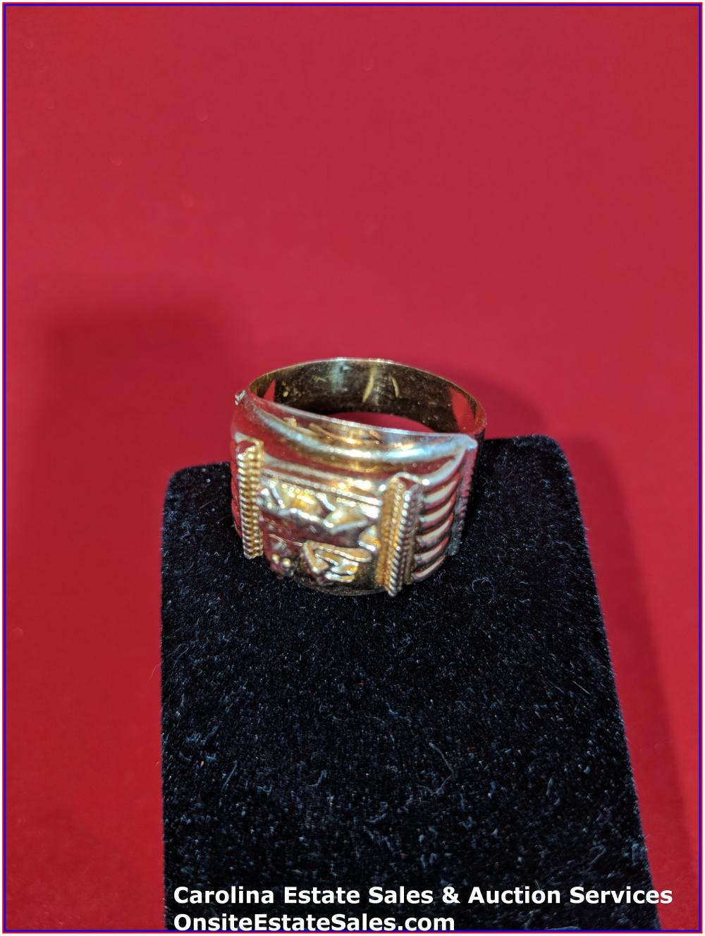 18K Ring Gold 8 Grams; Lion of Jerusalem - Vintage
