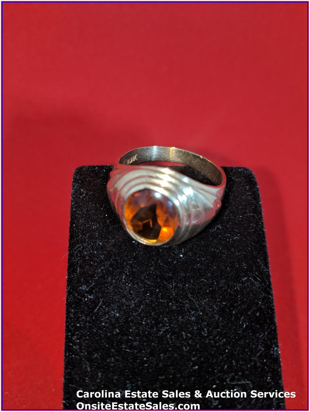 10K Gem Ring Gold 5 Grams Total Weight; with Orange Sapphire Center Stone