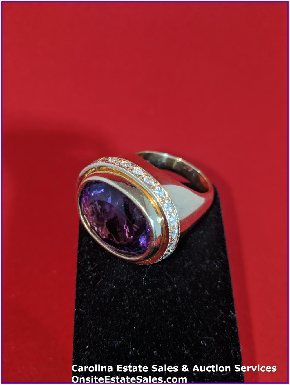 14K Gem Ring Heavy Gold 34 Grams Total Weight; 25 ct Amethyst surrounded by Diamonds