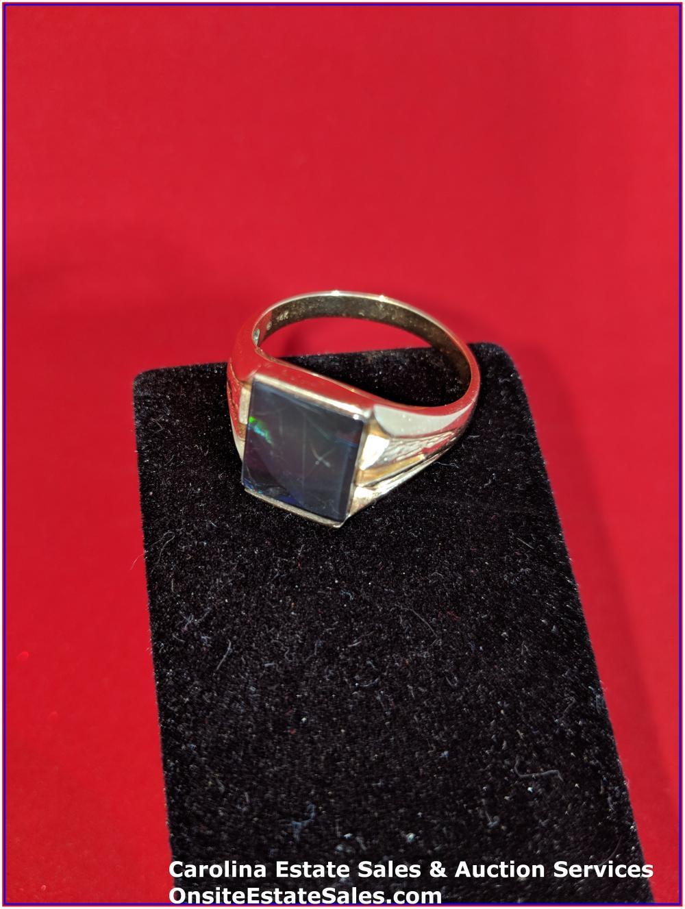 14K Gem Ring Gold 8 Grams Total Weight; Ammolite Center Stone
