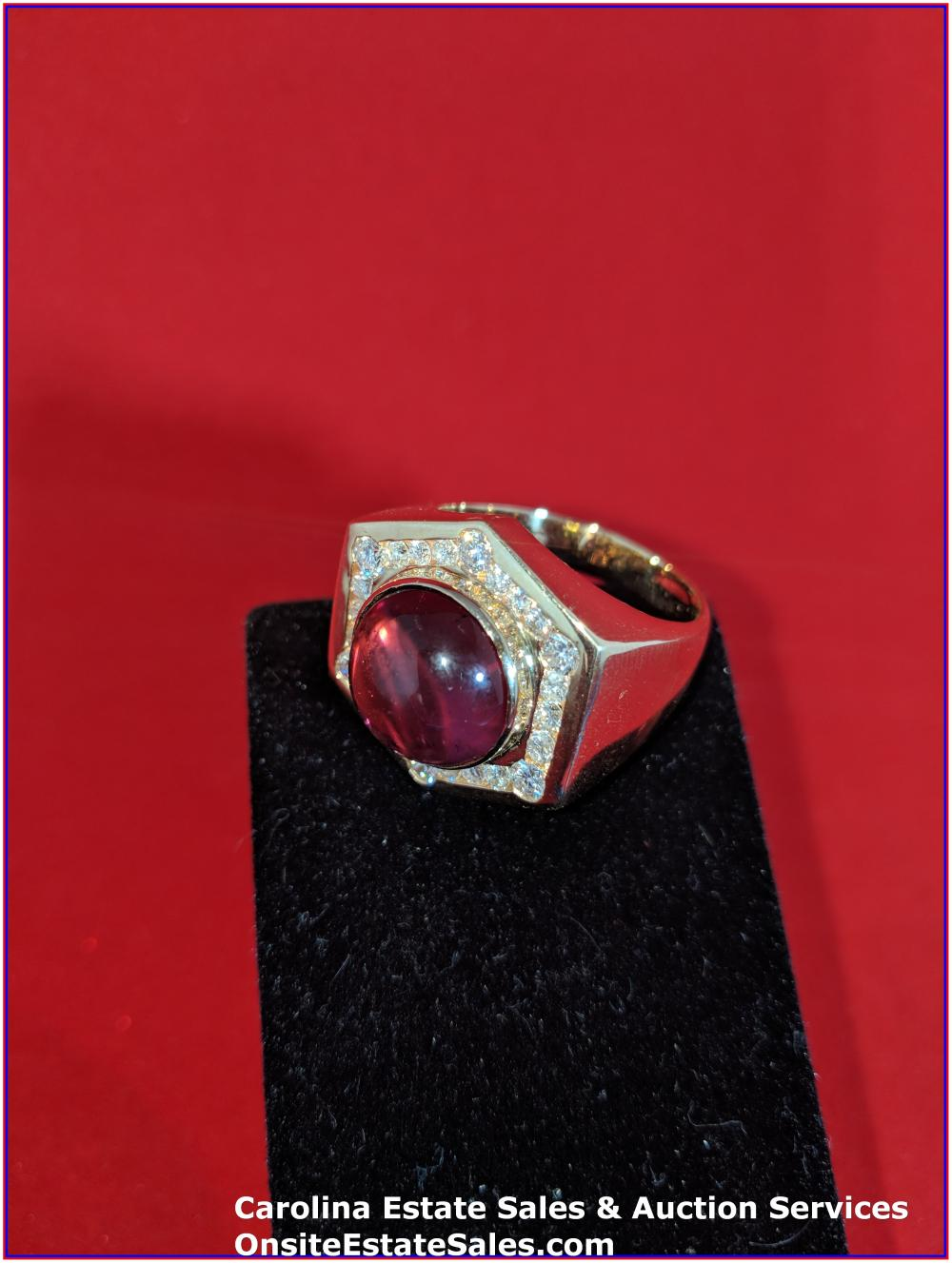 14K Gem Ring Gold 16 Grams Total Weight; 10 ct Pink Sapphire Center Stone