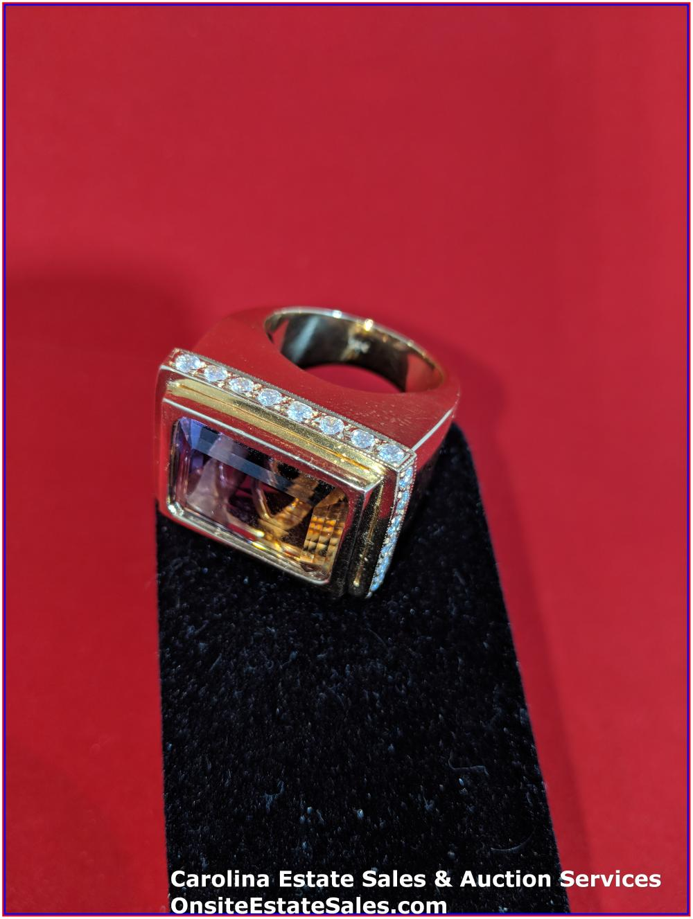 18K Gem Ring Gold 41 Grams Total Weight; 25 ct Emerald Cut Ametrine with 1.5 ct Diamonds