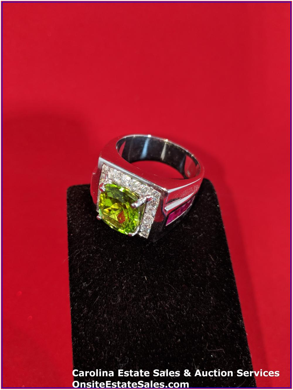 14K Gem Ring Gold 19 Grams Total Weight; 8 ct Peridot Center Stone Surround by Diamonds