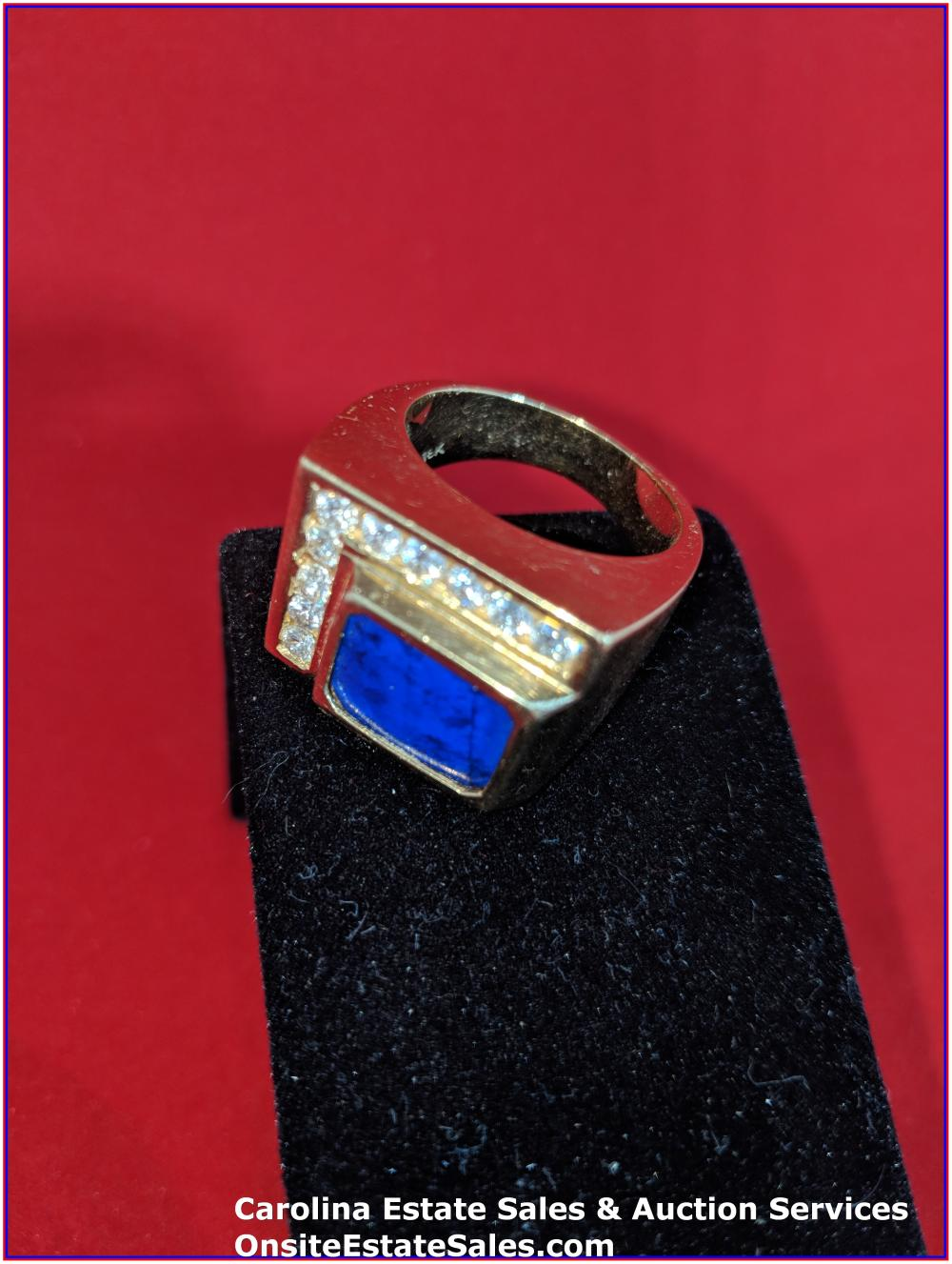 18K Gem Ring Gold 24 Grams Total Weight; Custom Lapis, 1.20 cts Diamonds