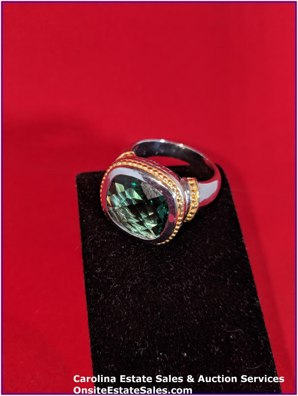 925 Gem Ring Sterling 20 Grams Total Weight Includes Stone